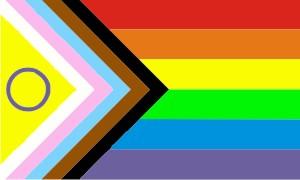 Inklusive Pride Flagge. Rechts die sechs Farbstreifen rot, orange, gelb, grün, blau und violett. Links in Winkelform Streifen in schwarz, braun, hellblau, rosa, weiß und ein gelbes Dreieck mit violettem Kreis.